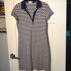 LACOSTE blue and white striped dress